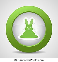 button with green Easter bunny