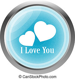 button with heart sign, icon isolated on white