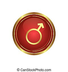 Button with male symbol