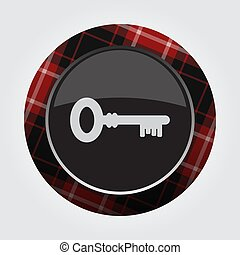 button with red, black tartan - key icon