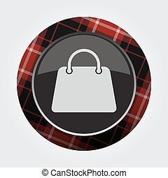 button with red, black tartan - shopping bag icon
