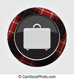 button with red, black tartan - suitcase icon