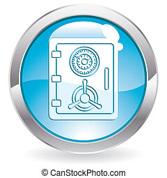 Three Dimensional circle gloss button with Safe icon, vector illustration
