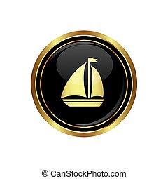 Button with sailboat Icon