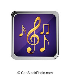 button with set of musical notes background purple