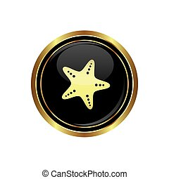 Button with starfish icon