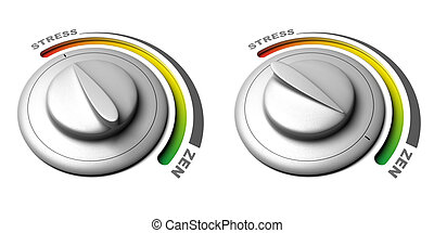 button with stress and zen positions over a white background...