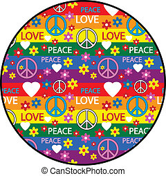 Button with symbols of the hippie. Vector illustration.