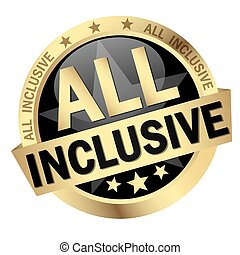 button with text All inclusive - colored button with banner...