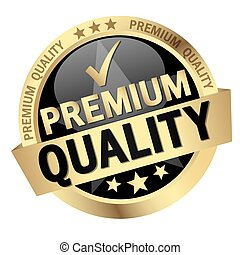 button with text Premium Quality - round button with banner ...