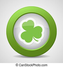 button with the green shamrock