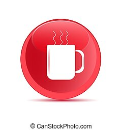 Button with the image mugs. Vector illustration.