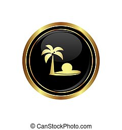 Button with tropical beach icon
