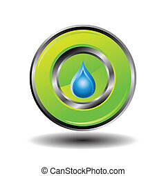 Button with Water Drop Icon