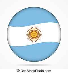 button with waving flag of Argentina