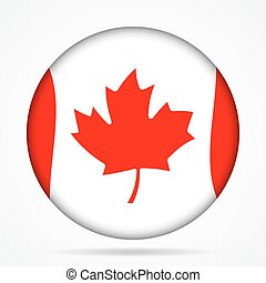 button with waving flag of Canada