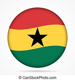 button with waving flag of Ghana