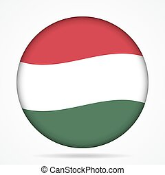button with waving flag of Hungary