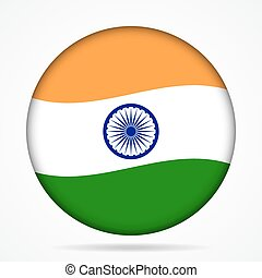 button with waving flag of India
