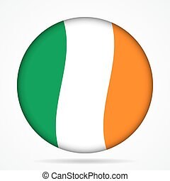 button with waving flag of Ireland