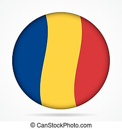 button with waving flag of Romania