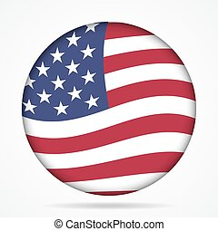 button with waving flag of USA