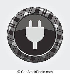 button with white, black tartan - electrical plug