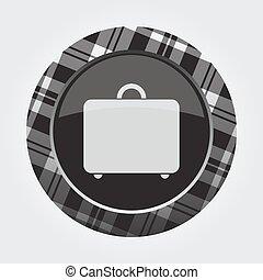 button with white, black tartan, suitcase icon