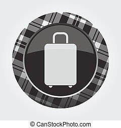 button with white, black tartan - suitcase icon