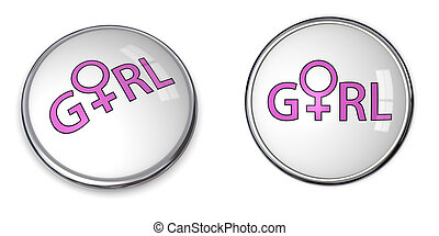 Button Word Girl/Female Gender Symbol