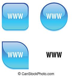button., www, lesklý