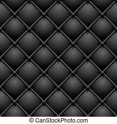 Buttoned black leather vector texture.