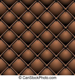 Buttoned brown leather vector texture.