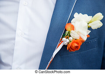 buttonhole on the lapel suit groom