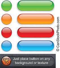 buttons., グロッシー, 円形にされる