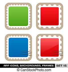 buttons., セット, カラフルである, app, フレーム, ベクトル, アイコン, テンプレート, 15.