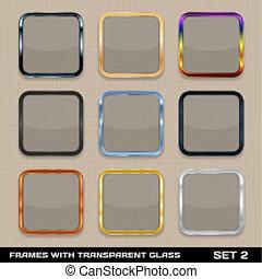 buttons., セット, カラフルである, app, フレーム, ベクトル, 2., テンプレート, アイコン