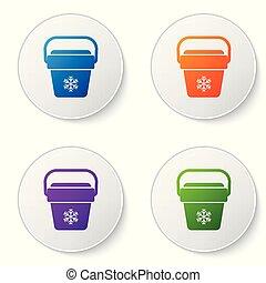 buttons., セット, ポータブル, アイコン, アイコン, 色, 冷却器, 隔離された, イラスト, 袋, バックグラウンド。, ベクトル, フリーザー, 白, ハンドヘルド, bag., 円, refrigerator.