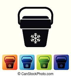buttons., セット, ポータブル, アイコン, 袋, 冷却器, 隔離された, イラスト, バックグラウンド。, ベクトル, 広場, フリーザー, 黒, 白, ハンドヘルド, bag., 色, refrigerator.