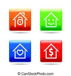 buttons., セット, illustration., 色, 家, ベクトル