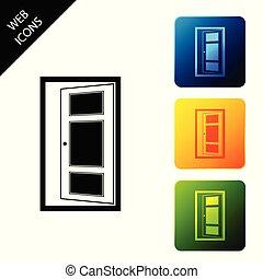 buttons., ドア, カラフルである, アイコン, isolated., イラスト, ベクトル, 広場, セット, 開いた, アイコン
