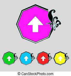 buttons., パッケージ, これ, カラフルである, 壊れやすい, の上, 印, カーソル, ベクトル, symbol.set, icon., 手, ポインター, 側
