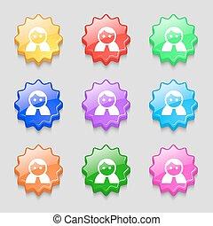 buttons., ベクトル, 人間, 女, 印。, 女性, 波状, 9, ログイン, ユーザー, 女性, カラフルである, シンボル, トイレ, アイコン