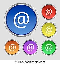 buttons., 印。, シンボル, 電子メール, 明るい, ベクトル, カラフルである, ラウンド, アイコン