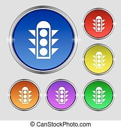 buttons., 印。, ライト, シンボル, ラウンド, 明るい, ベクトル, 交通, カラフルである, シグナル...