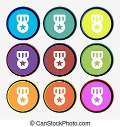 buttons., 印。, 賞, 名誉, ベクトル, 9, 多彩, メダル, ラウンド, アイコン