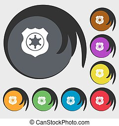 buttons., 星, 有色人種, 保安官, 印, シンボル, ベクトル, 8, icon.