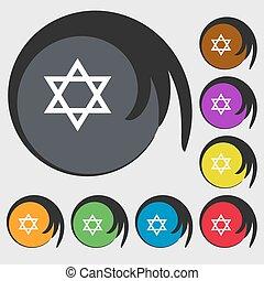 buttons., 有色人種, シンボル, ベクトル, 8, icon., pentagram