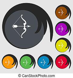 buttons., 有色人種, 印。, 弓, 8, 矢, シンボル, アイコン
