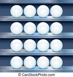 buttons., 棚, イメージ, 金属, ガラス, ベクトル, 空